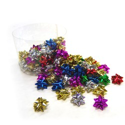 100 x Itsy Bitsy - 2.5cm Metallic Star Bows - Assorted