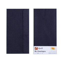 Black DL Envelopes - Pack of 25 - 80gsm by Quill