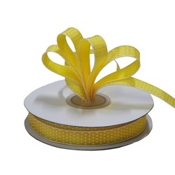 Dots Ribbon - 12mm x 25M - Yellow with white spots