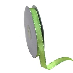 Green with White Stitch Grosgrain Ribbon 12mm x 25M