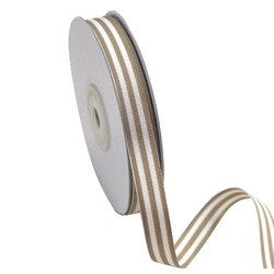 White/Natural Fawn Stripe - Grosgrain Ribbon 12mm x 25M