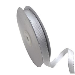 Silver with Silver - Stitch Grosgrain Ribbon 12mm x 25M