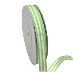 White/Green Stripe - Grosgrain Ribbon 12mm x 25M