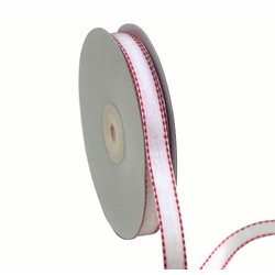 White with Red Stitch Grosgrain Ribbon 12mm x 25M