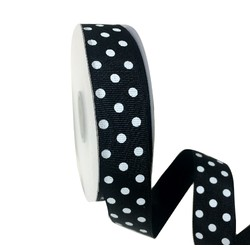 Black Grosgrain with White Dots Ribbon - 25mm x 25M