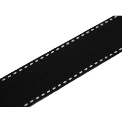Grosgrain Ribbon  - 25mm x 25M - Black with white stitch
