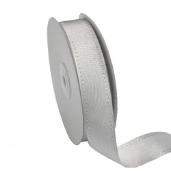 Grosgrain Ribbon - 25mm x 25M - Silver/Silver