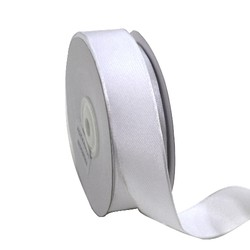 White Fabric Ribbon - Wired Woven Edge 25mm x 25M