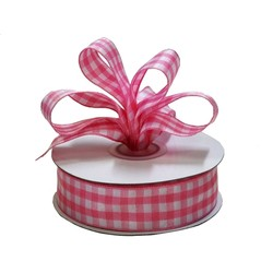 Gingham Ribbon - 25mm x 25m - Pink