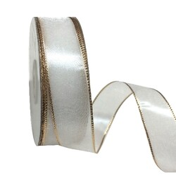 White Sheer Organza Ribbon with Gold Wire Edge - 25mm x 25M