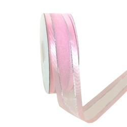 Pink Satin Edge Organza with Silver Thread Ribbon - 25mm x 25m