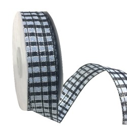 Black, Grey and Silver Tartan Ribbon with Wire Edge - 25mmx 25M