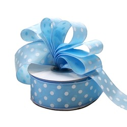 Dots Ribbon - 38mm x 25M - Light Blue with white spots