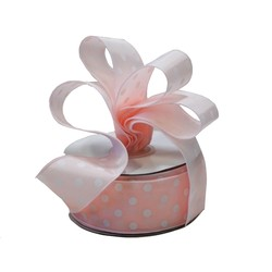 Dots Ribbon - 38mm x 25M - Light Pink with white spots