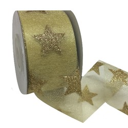 Solid Gold Stars on Sheer Gold Ribbon - 38mm x 25M