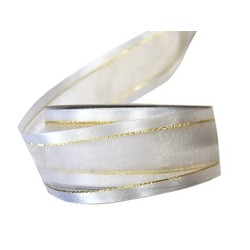White Satin Edge Sheer Organza With Gold Trim Ribbon - 38mm x 25M