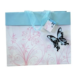 Butterfly Bag with 3D flocked butterfly - Blue