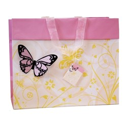 Butterfly Bag with 3D flocked butterfly - Pink