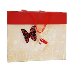 Butterfly Bag with 3D flocked butterfly - Red