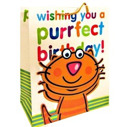 Gift Bags 'Purfect Birthday' Cat - Medium