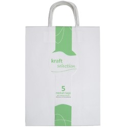 Medium Kraft Gift Bags - 5 Pack White