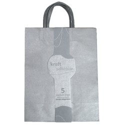 Medium Kraft Gift Bags - 5 Pack Metallic Silver