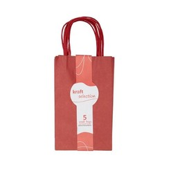 Small Kraft Gift Bags - 5 Pack Red