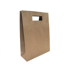 Kraft Bags - Premium Die Cut Kraft Brown Medium Gift Bag