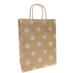 Kraft Bags - Medium - White Dots