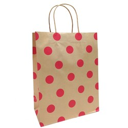 Kraft Bags - Medium - Red Dots