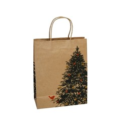 Kraft Bags - Christmas Tree Robin - Medium - Brown