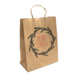 Kraft Bags - Christmas Wreath - Medium - Brown