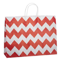 Kraft Bags - Boutique - Chevron - Red