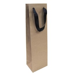 Kraft Bags - Premium Kraft Brown Single Wine Bottle Gift Bag