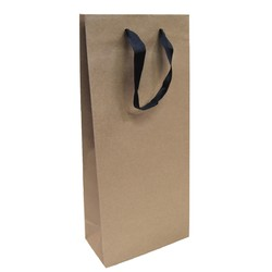 Kraft Bags - Premium Kraft Brown Double Wine Bottle Gift Bag