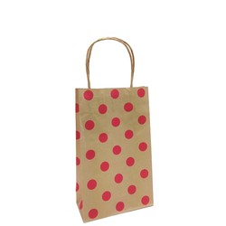 Kraft Bags - Small - Red Dots