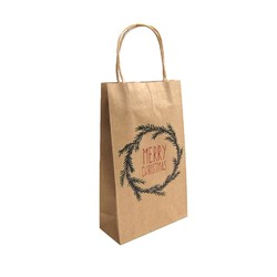 Kraft Bags - Christmas Wreath - Small - Brown