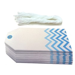 Gift Tags - 5x11cm - 50pk - Chevron - Blue