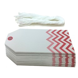 Gift Tags - 5x11cm - 50pk - Chevron - Red