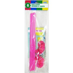 6 x Balloon Stick & Cup - 30cm - Light Pink