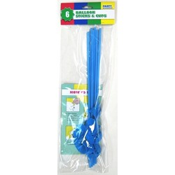 6 x Balloon Stick & Cup - 30cm - Light Blue