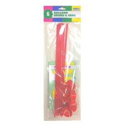 6 x Balloon Stick & Cup - 30cm - Red
