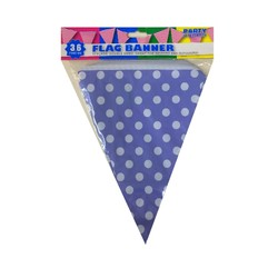 3.6m Flag Bunting - Polka Dots - Purple