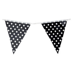 3.6m Flag Bunting - Polka Dots - Black