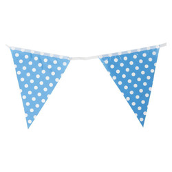 3.6m Flag Bunting - Polka Dots - Blue