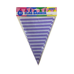 3.6m Flag Bunting - Stripes - Purple