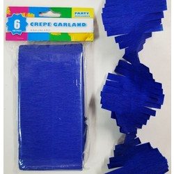 Crepe Paper Garland Decoration - Blue - 8.5cm x 6 Metres