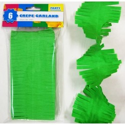 Crepe Paper Garland Decoration - Green - 8.5cm x 6 Metres