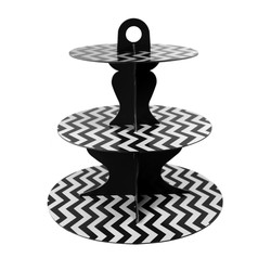 3 Tier Cup Cake Stand - Reversible Design - Black
