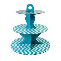 3 Tier Cup Cake Stand - Reversible Design - Blue